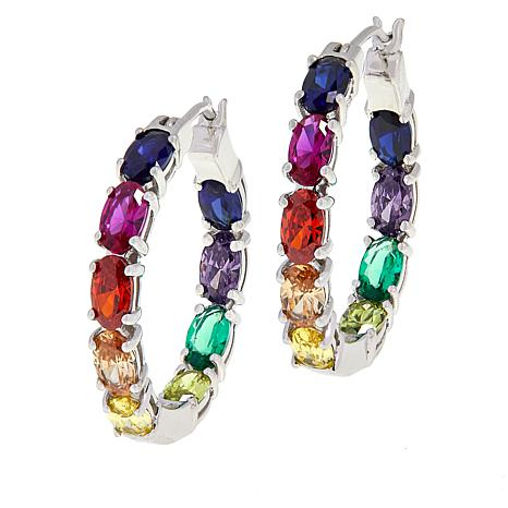 Absolute™ Simulated Colors of Sapphire Rainbow Hoop Earrings - Small