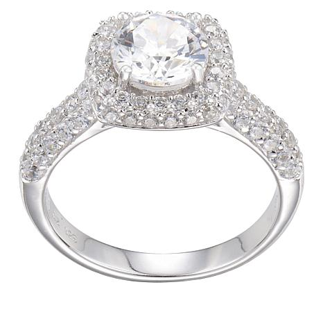 Absolute™ Sterling Silver 2.54ctw Cubic Zirconia Pavé Frame Ring