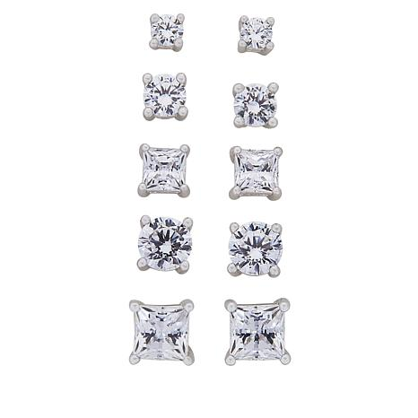 ee90fb7221e0a3 Absolute™ Sterling Silver Cubic Zirconia 5-piece Stud Earrings Set -  8960523 | HSN