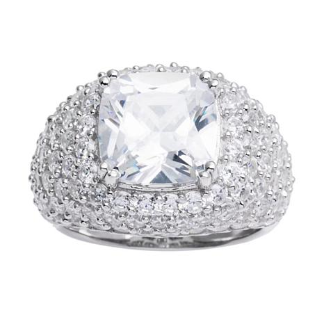 Absolute™ Sterling Silver Cubic Zirconia Cushion-Cut Cocktail Ring