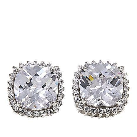 Absolute™ Sterling Silver Cubic Zirconia  Cushion Halo Stud Earrings