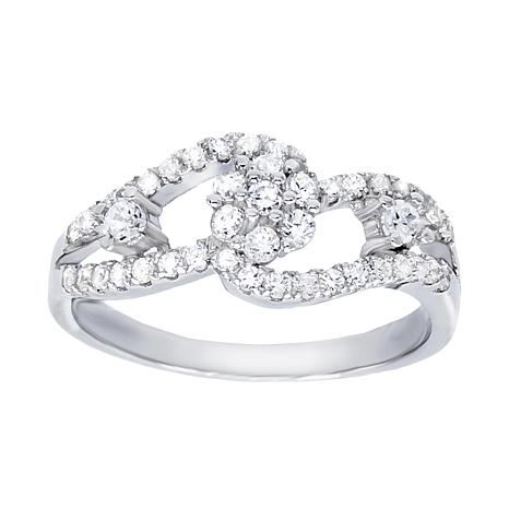 Absolute™ Sterling Silver Cubic Zirconia Link-Style Ring