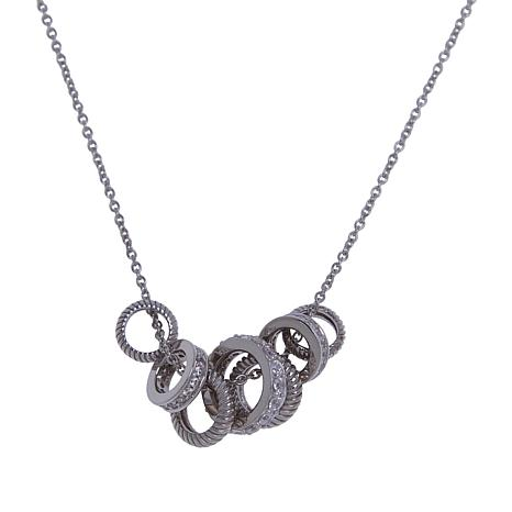 Absolute™ Sterling Silver Cubic Zirconia Multi-Band Necklace