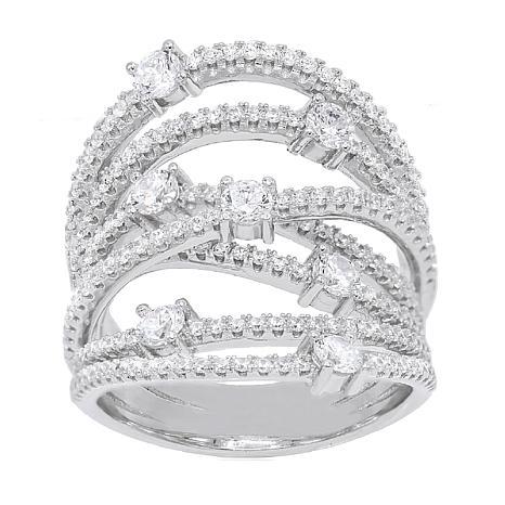 Absolute™ Sterling Silver Cubic Zirconia Round Openwork Orbit Ring