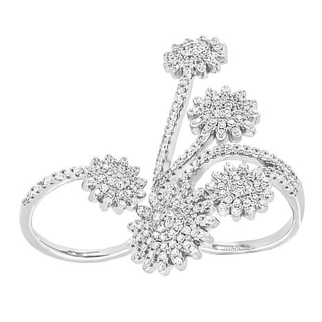 Absolute™ Sterling Silver Cubic Zirconia Two-Finger Floral Ring