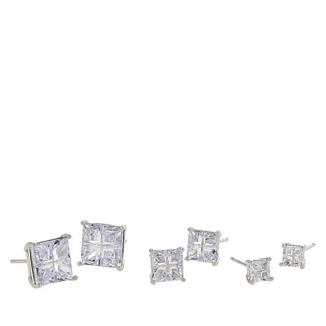 Absolute™ Sterling Silver Laser-Cut Square 3-piece Earrings Set