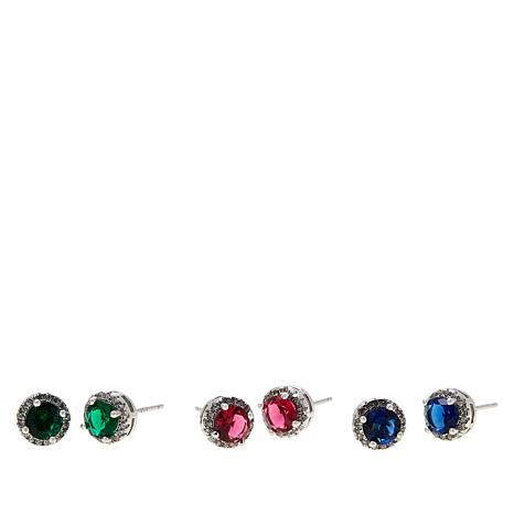 Absolute™ Sterling Silver Simulated Gem and CZ 3pc Stud Earrings Set