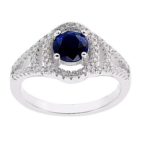 Absolute™ Sterling Silver Simulated Sapphire and CZ Openwork Ring