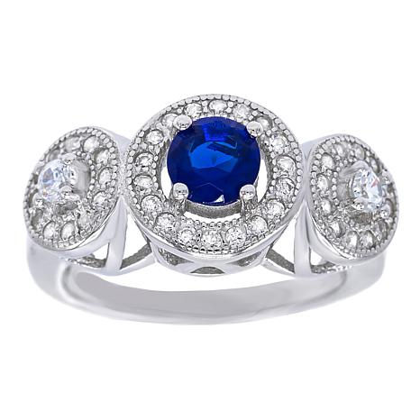 Absolute™ Sterling Silver Simulated Sapphire and CZ Three-Stone Ring