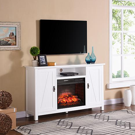 Adderly Farmhouse-Style Infrared Fireplace TV Stand - White