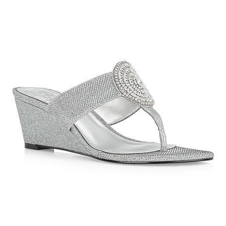 Adrianna Papell Casey Embellished Thong Wedge Sandal