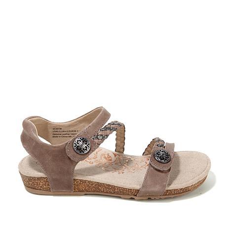 ee1832e05b7 Aetrex® Jillian Braided Leather Sandal with Built-In Lynco™ Orthoti -  8348422