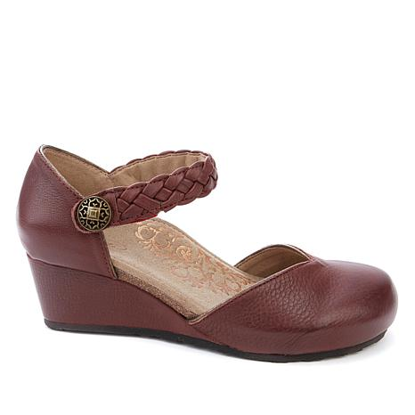 Aetrex® Mia Leather Braided Strap Wedge