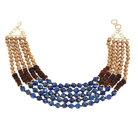 "Akola ""African Queen"" Lapis, Stone and Karatasi Paper Bead  Necklace"