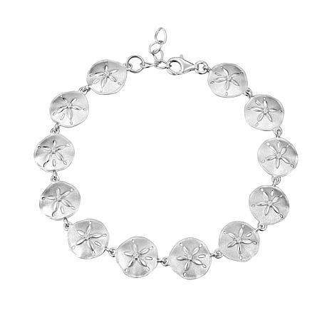 Alamea Sterling Silver Cubic Zirconia Sand Dollar Link Bracelet