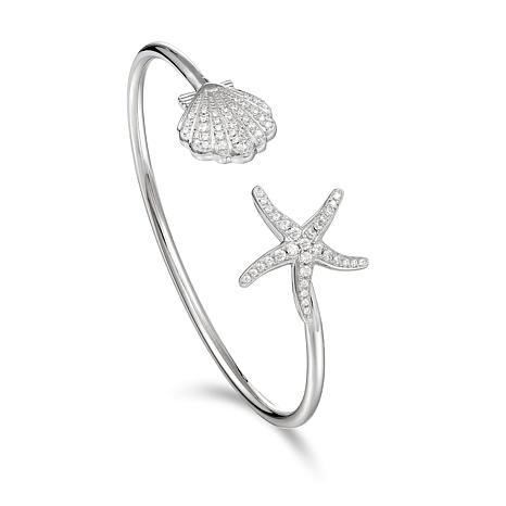 Alamea Sterling Silver Cubic Zirconia Starfish and Shell Cuff