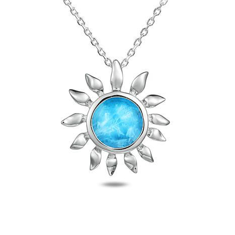 Alamea Sterling Silver Larimar Sunflower Pendant Necklace