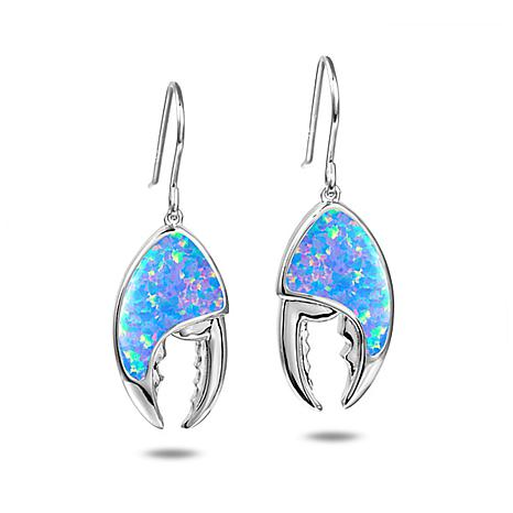 Alamea Sterling Silver Synthetic Blue Opal Crab Claw Earrings
