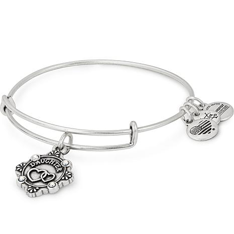 """Alex and Ani """"Daughter"""" Adjustable Wire Bangle Crystal Charm Bracelet"""
