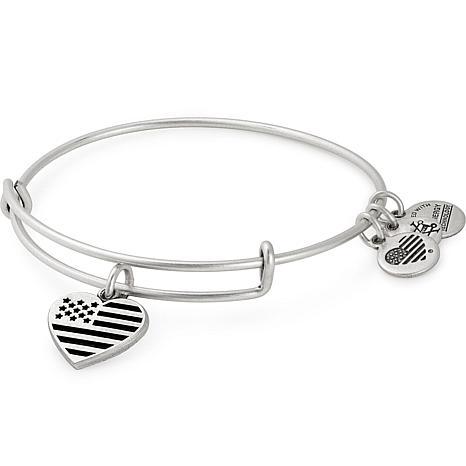 "Alex and Ani ""Heart Flag ""Adjustable Wire Bangle Charm Bracelet"