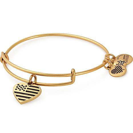 Alex And Ani Heart Flag Adjule Wire Bangle Charm Bracelet
