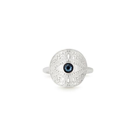Alex and Ani Sterling Silver Evil Eye Adjustable Statement Ring