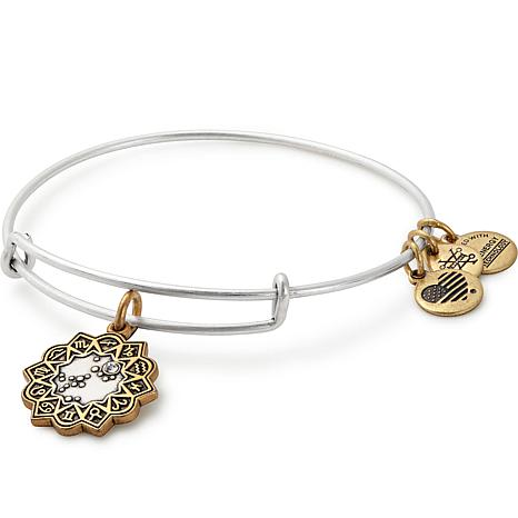 "Alex and Ani ""Zodiac"" Adjustable Wire Bangle Crystal Charm Bracelet"