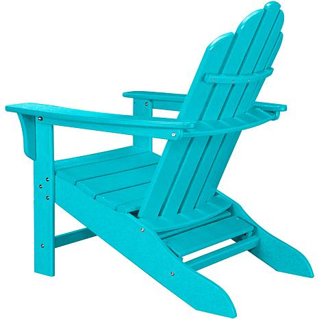 All Weather Contoured Adirondack Chair With Hideaway Ottoman  Aruba    7769402 | HSN