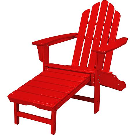 allweather adirondack chair with ottoman sunset red
