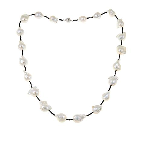 """Amara Jewelry Collection Cultured Pearl and Black Spinel 28"""" Necklace"""