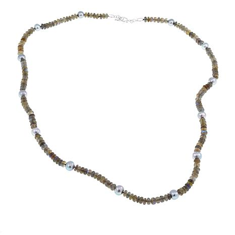 "Amara Jewelry Collection Cultured Pearl and Labradorite 37"" Necklace"