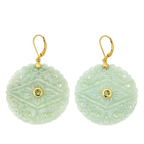 Amara Jewelry Collection Jade and Peridot Carved Drop Earrings