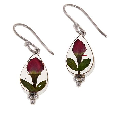 Amena K® Silver Designs Dried Flower Drop Earrings