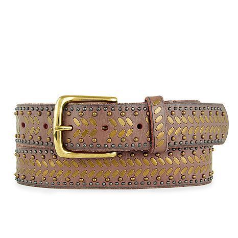 Amsterdam Heritage Nakita Studded Taupe Leather Belt