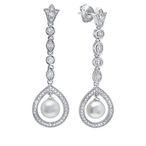 Andrew Prince Cubic Zirconia and Cultured Freshwater Pearl  Earrings