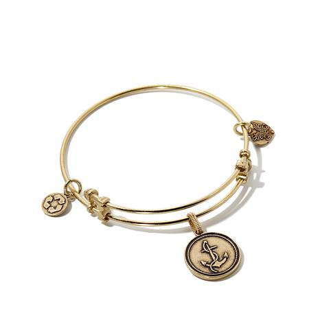 Angelica Anchor Charm Slide-Clasp Bangle Bracelet