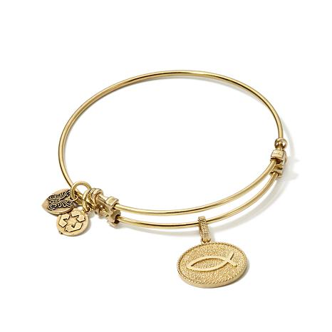 Angelica Christian Fish Charm Slide-Clasp Bracelet