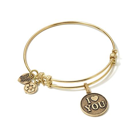 "Angelica ""I Love You"" 7"" Slide-Clasp Bangle Bracelet"