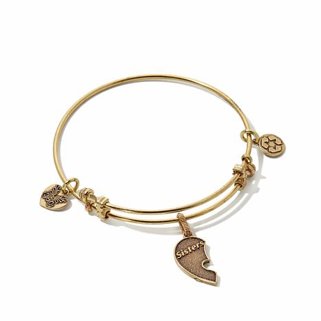 Angelica Sisters Half-Heart Charm Slide-Clasp Bracelet