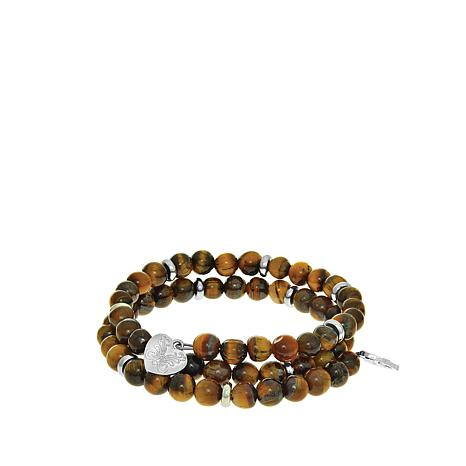 Angelica Tiger's Eye Beaded Coiled Wrap Bracelet