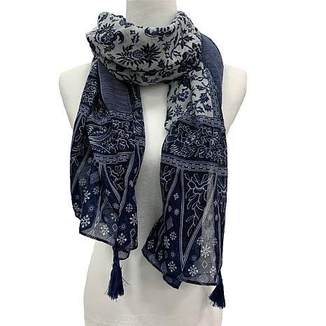 Anna Cai Paisley Scarf with Fringe Tassels