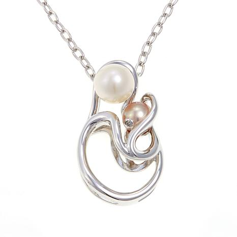 Anne geddes genesis 55 75mm white and pink cultured freshwater anne geddes genesis 55 75mm white and pink cultured freshwater pearl diamond accented sterling silver pendant with 18 chain aloadofball Images