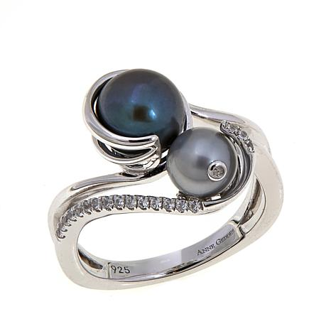 "Anne Geddes ""Nurture"" Black and Gray Bypass Ring"