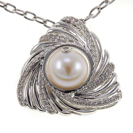 "Anne Geddes ""Pure"" White Cultured Freshwater Pearl Swirled Pendant"