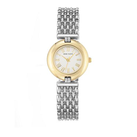Anne Klein 2-Tone Round Dial Bold Bezel Bracelet Watch