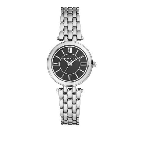 Anne Klein Black Dial Bold Bezel Bracelet Watch