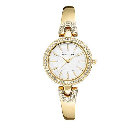 Anne Klein Crystal-Accented Semi-Bangle Bracelet Watch
