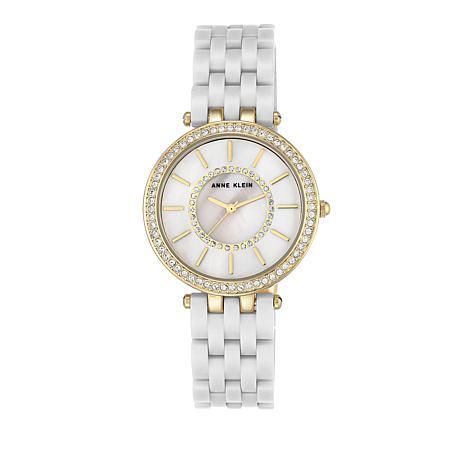 Anne Klein Crystal-Accented White Bracelet Watch