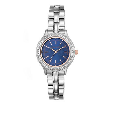 Anne Klein Crystal Bezel Round Navy Dial Watch