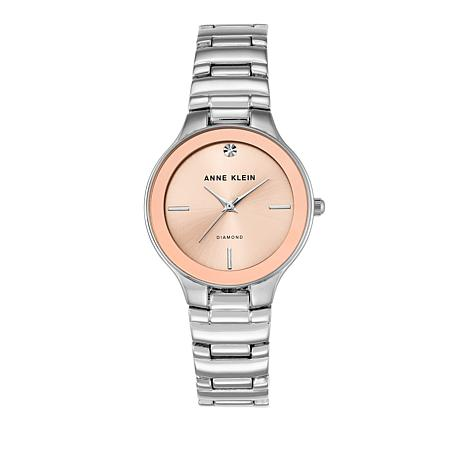 Anne Klein Diamond Accent Pink Dial Bracelet Watch